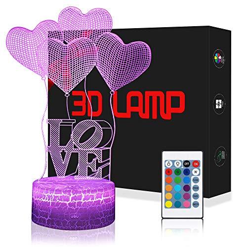 3D Herz Ballon Liebe Lampe LED Nachtlicht mit Fernbedienung, USlinsky 7 Farben Dimmbare Touch Schalter Nachtlampe Geburtstag Geschenk, Frohe Weihnachten Geschenke Für Mädchen Männer Frauen Kinder (Ballons Freund Besten)