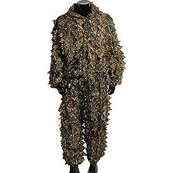 Outerdo Ghillie Suit Woodland - Traje de camuflaje 3D, para caza, talla libre