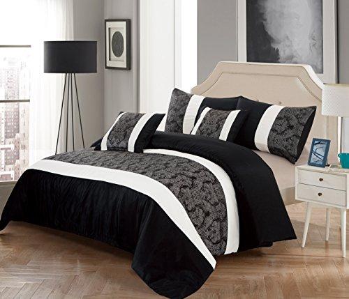 Lot de 3pièces de lit, couvre-lit matelassé, édredon et taies d'oreiller en jacquard. Luxueuse parure de lit en imitation satin sans polypropylène, Imitation soie/polyester/soie, noir/gris, King