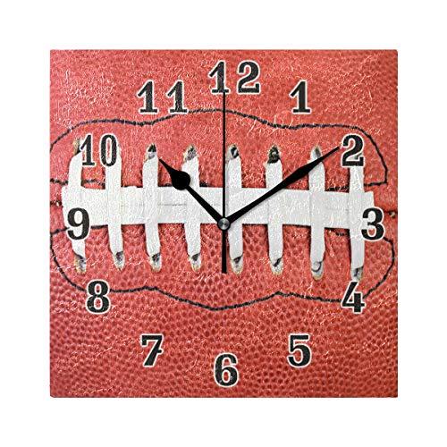 QMIN Wanduhr American Football Spitzen-Muster, quadratische Uhr, geräuschlos, kein Ticken, leise Uhr für Schlafzimmer, Wohnzimmer, Küche, Büro, Home Decor