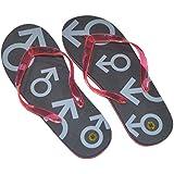 X41 -One Pair of Mens Medium Black & Red Just Married Flip Flops (Size 8-10)