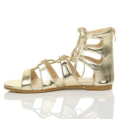 Donna piatto allacciare arrotolare cinturino infradito gladiatore sandali numero Oro metallizzato