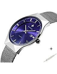 Herren Elite Sport Quarz Armbanduhr Stecker silberfarbenes Ultrathin Edelstahl Mesh Band Uhr mit Datum Blau