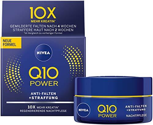 NIVEA Q10 Power Anti-Falten + Straffung Nachtpflege für jünger aussehende Haut im 2er Pack (2x 50 ml), regenerierende Nachtcreme, Gesichtscreme für intensive Feuchtigkeit