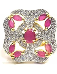 Jewelshingar Jewellery Fine Gold Plated Finger Ring For Women ( 32643-ring-ruby-freesize )