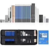 YISSVIC 34PCS Sketching Pencils Set for Artists Drawing Pencils Set with Sketch Paper Zipper Case Includes Graphite Charcoal Pencils and Accessories