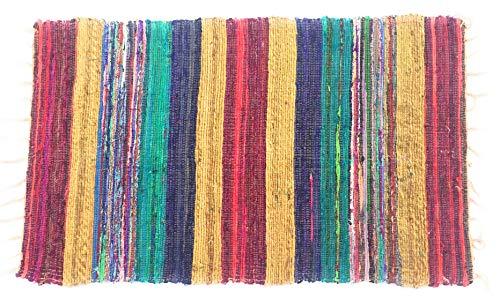 Second Nature Recyceltem Seide Multi farbige Tonal Streifen Flickenteppich 90cm x 150cm -