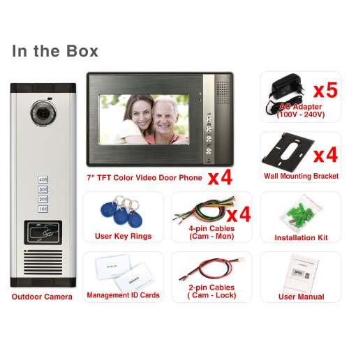"Generic 7"" inch Color LCD Video Door Phone Doorbell Home Entry Intercom System 4 Monitor 1 Camera Night Vision with RFID Reader for 4 Family 702"