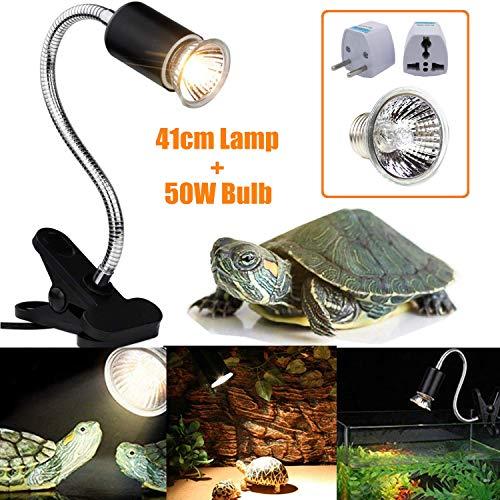 STARPIA Lámpara para Tortuga + 50w Bombilla, UVA UVB Basking Lámpara de Calor Halógena Iluminación...