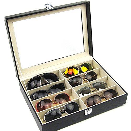 JUEYAN Brillenbox 8 Brillen Brillendisplay Brillenkoffer Brillenorganizer Brillenaufbewahrung Brillenständer