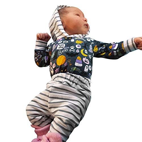 LEXUPE Kleinkind-Baby-Mädchen-Karikatur-mit Kapuze gestreifter Spielanzug-Halloween-Hosen-Ausstattungs-Satz(Mehrfarbig,70)