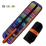 Jhua 72 Couleurs Crayons de Couleur Fournitures Crayons d'art Marco Raffine Serti de Toile Roll Up Sac de Crayon pour la Peinture, Coloriage, Dessiner ou Colorier