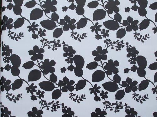 THE TABLECLOTH COMPANY 140 x 250 cm Ovale en PVC/Vinyle Nappe - Noir et Blanc Fleur