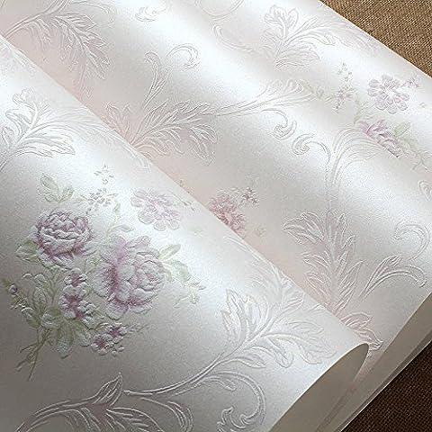 VanMe European-Style Land Blumen-Tapete 3D Non-Woven Stoff Tapete Im Wohnzimmer Schlafzimmer Bett Warm Pink Zimmer, Hochzeit, 0,53M * 10M Light Purple