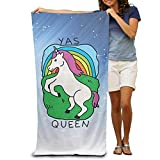 ewtretr Bath Towel Yas Queen Unicorn Beach Towel Pool Towel Lightweight Absorbent Quick Dry for Swim Beach Yoga Camping