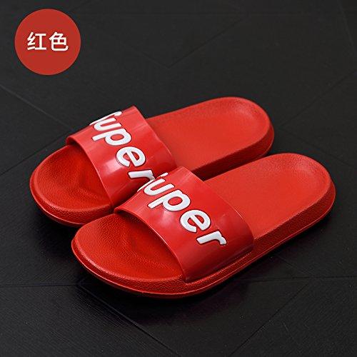 DogHaccd pantofole,La sig.ra pantofole estate uomini casuale personalità del mondo della moda di spessore, antiscivolo scanalato di sabbia nel bagno soggiorno casa cool pantofole Rosso1