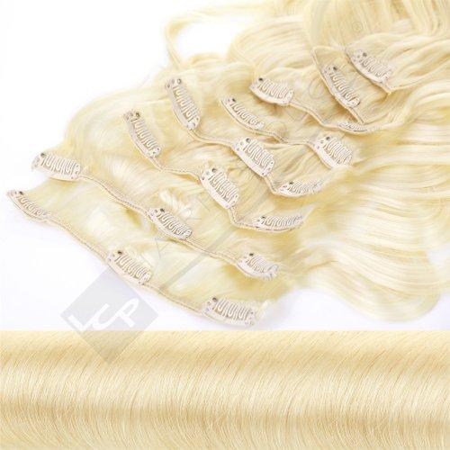 Clip In Extensions Haarverlängerung XXL Set 55 cm - gewellt - Farbton Hellblond