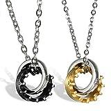 Lot de 2Couple Colliers acier inoxydable Or rose Noir Anneau Couronne avec chaînes et zirconium Cadeaux pour femme homme