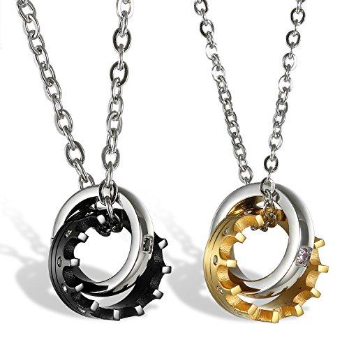 2Stück Edelstahl Pärchen Halsketten rosegold schwarz Ring Krone Ketten mit Zirkonia Geschenke Für Damen Herren (Versprechen Ringe Halskette)