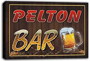 scw3-006109 PELTON Name Home Bar Pub Beer Stretched Canvas Print Sign