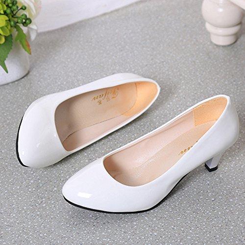 Longra Donna Stiletto tacco basso-fronteggiato luce scarpe a punta Bianca