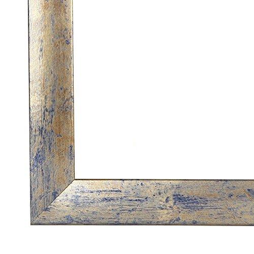 Cadre de Photo Cadre d'image CAPRY 60x90 cm ou 90x60 cm in BLEU DORÉ ARGENTÉ avec Anti-reflet verre artificielle et le panneau arrière, 50 mm baguettes d'encadrement MDF et feuille décorative entièrement recouvrante