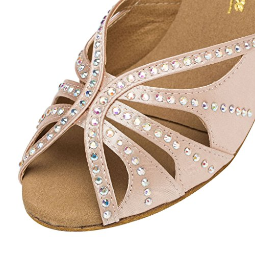Minitoo – th162 cristalli Croce Strap Satin Matrimonio Ballo Latina taogo Dance Sandals Beige