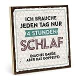 TypeStoff Holzschild mit Spruch – TAGESSCHLAF – im Vintage-Look mit Zitat als Geschenk und Dekoration zum Thema Schlafen, ausruhen und Bett (19,5 x 19.5 cm)