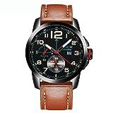 Homme montre, Honestyi Homme Luxe armée Date Sport Cuir montre bracelet étanche montres à quartz analogique, Kaki