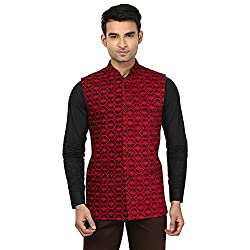 QDesigns Mens Nehru Jacket (WJ_09_Red & Black_46)