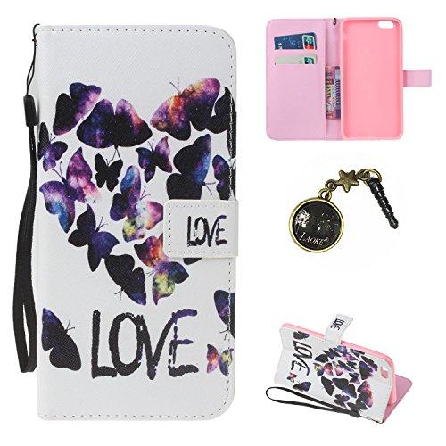 iPhone 6 Plus Hülle,iPhone 6 Plus case vintage ledertasche, Handy Schutzhülle für Apple iphone6 Plus (5.5 Zoll) Hülle Leder Wallet Tasche Flip Brieftasche Etui Schale (+Staubstecker) (4) 5