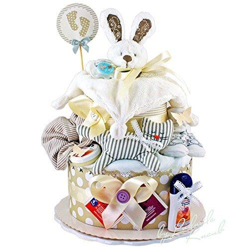 Preisvergleich Produktbild Windeltorte / Pamperstorte > Babygeschenk für Mädchen und Jungen in schönem Beigeton // Geschenk zur Geburt, Taufe, Babyparty // originelles und praktisches Geschenk für Babys