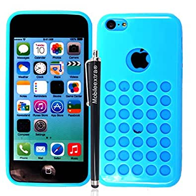 MOBILEEXTRALTD™ NEW APPLE IPHONE 5C PRINTED SILICONE GEL PROTECTION CASE SKIN COVER+SCREEN PROTECTOR+STYLUS (Sky Blue Retro Dots Hole)