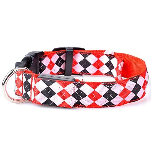FUXINDP Hundehalsband Led USB Haustier Hund Led Glühen Licht Leine Kragen Led Wiederaufladbare Diamant Muster Kragen Elektronische Schock Schnalle