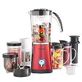 Juicers Blenders Best Deals - VonShef 4 in 1 Multifunctional Red 1L Smoothie Maker, 1.5 Litre Blender, Juicer & Grinder