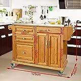 SoBuy® Luxus-Küchenwagen aus hochwertigem Bambus mit Edelstahlarbeitsplatte,Kücheninsel,Küchenschrank,B129xT46xH91cm FKW14-N - 3