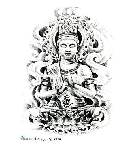 ruofengpuzi 21X15cm Große Tattoo Aufkleber Skizze Buddha Bild Kühlen Temporäre Tätowierung Aufkleber Jos ()