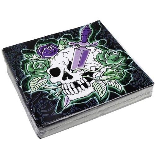 Schaurige Servietten Skulls Halloween Party-Deko 20 Stück bunt 33x33cm Einheitsgröße (Halloween Servietten)