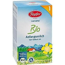 Töpfer Lactana Bio 1 Anfangsmilch - von Geburt an, 2er Pack (2 x 600g)