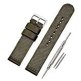 Vinband Correa Reloj Calidad Alta Lienzo Correa Relojes Militar del ejército - 18mm, 20mm, 22mm, 24mm Correa Reloj con Hebilla de Acero Inoxidable (18mm, Army Green)