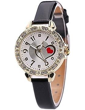 Sanwood Damen Love Herz Zifferblatt Kunstleder Armbanduhr Schwarz