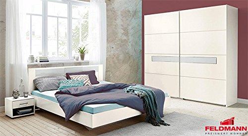 Schlafzimmer Pamela 679884 komplett 4-teilig weiß / Weißglas mit Schwebetürenschrank