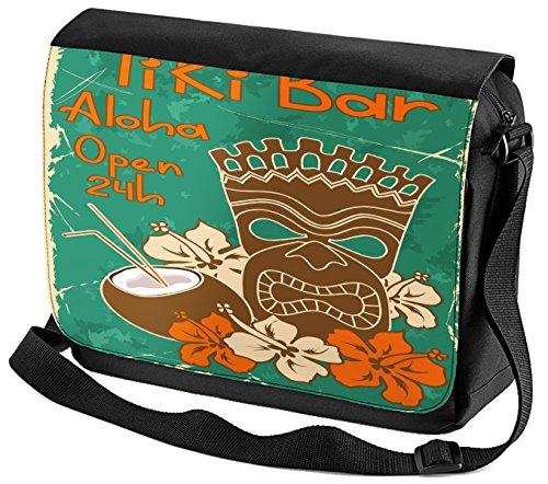 Umhänge Schulter Tasche Nostalgie Tiki Bar 24 Stunden bedruckt (24 Tikis)