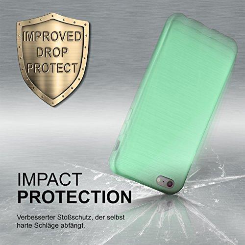 iPhone 7/8 Hülle Silikon Dunkel-Rot [OneFlow Brushed Back-Cover] TPU Schutzhülle Ultra-Slim Handyhülle für iPhone 7/8 Case Dünn Silikonhülle Rückseite Tasche MINT-GREEN