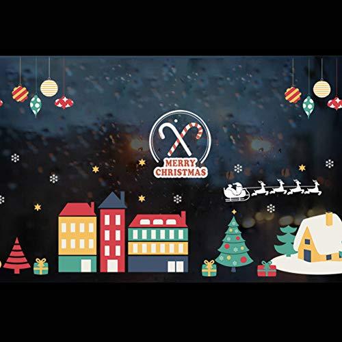 YCEOT Wandaufkleber Weihnachtsdorf Dekoration Winter Schnee Stadt Wandaufkleber Abziehbilder Fenster Party Dekoration Neujahr Wohnkultur Poster