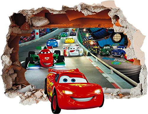 Image of Cars Lightning McQueen Wall Art Hole Printed Vinyl Sticker Decal (SS40034) (Small 250 x 200mm)