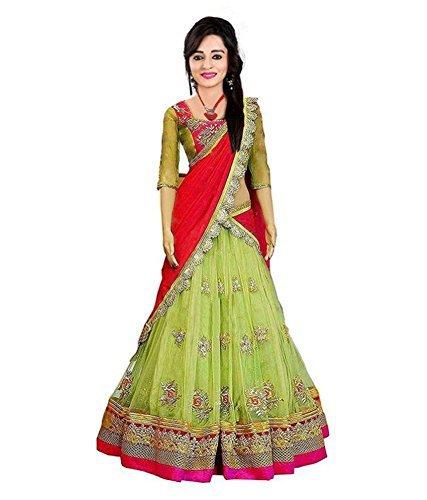 Shree Krishna Sales Corporation Gril's lehnga choli free size green color Georgette...