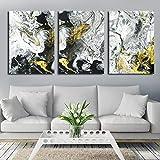 Impression Sur Toile Peinture 3 Pièces Moderne Minimaliste Abstraite Encre Liquide Sports Signes Jet D'Encre Signes Peinture Sur Toile Art Print Affiche Photo Mur Décoration De La Maison, 50X70C