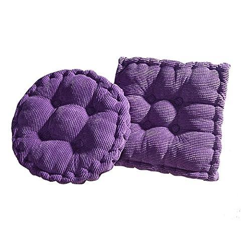 Hangnuo Lot de 2Chaise en velours côtelé Coussin Home Office épaisse Pad, violet, Small: 15.7inch