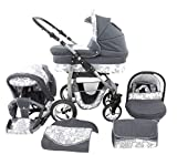 Chilly Kids Dino 3 in 1 Kinderwagen Set 40 Graphit & Graphit Blumen
